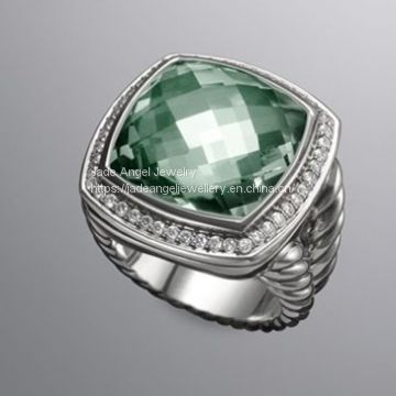 Fine Jewelry 925 Sterling Silver 17mm Prasiolite Albion Ring