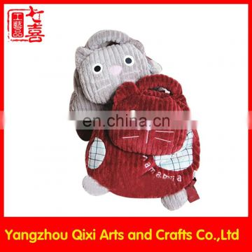 High quality plush animal backpack cute red and grey cat backpack