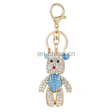 metal rhinestone bear keychain for bag