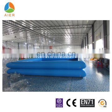 Double layers materials squate blue and orange color inflatable swimming pool with CE certificate