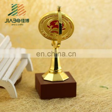 high quality custom design metal trophy award cup the round part could custom logos on