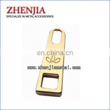 metal zipper puller for handbags and garments engraved with customer's logo