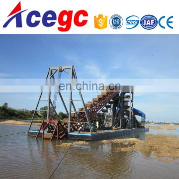 Sand/gold collecting and extracting bucket/drill type dredger
