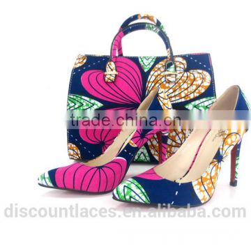2016 factory cheap price Ankara fabric shoes and bags/wax shoes and bags /ladies Ankara print high heel shoes                                                                         Quality Choice                                                     Most P