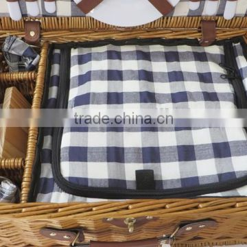 Outdoor wicker material handmade picnic basket for 2 person
