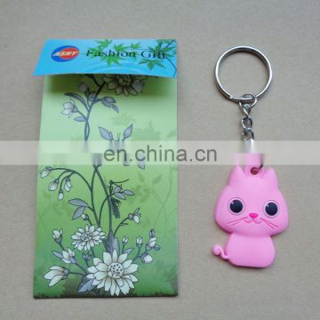 Custom cute sweet pink cat soft pvc keychain with a print beautiful paper card packing