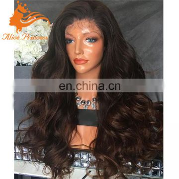 aliexpress brazilian hair human lace front wigs chocolate color body wave ombre lace front wig thick human hair wig no sheeding