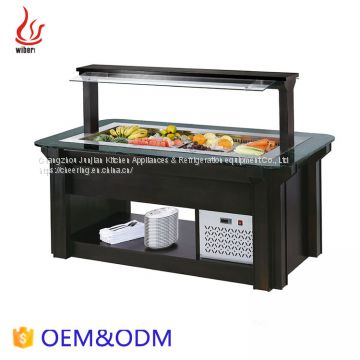 1.89M Commercial Wooden Hoodl Refrigerated Salad bar for Buffet