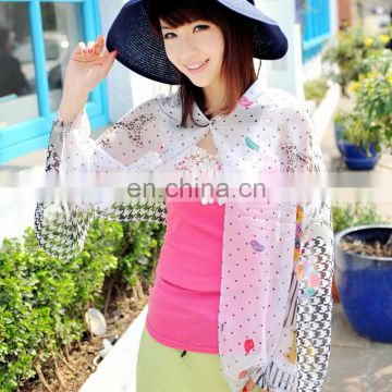 2015 Newestsummer fashion design polyester chiffon Uv protection shawl (PP612BL-P)