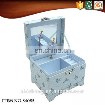 Girls favorite pure flower large mirror music jewelry box with lock