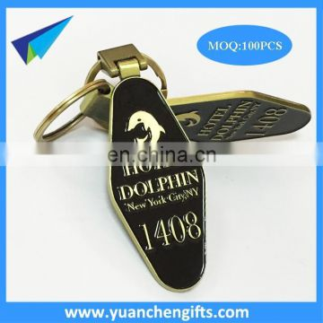 Promotional make your own logo metal soft enamel key tags with keychain
