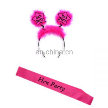 2 pcs bachelorette party kit pink hen party sash and headband bridal shower party decoration