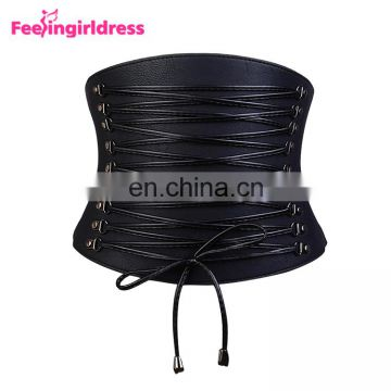 Fashion Women Wide Waist Belt Slim Pvc Lace Up Waist Belt Elastic Waistband Wholesale