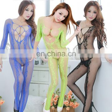 manufactory wholesale long sleeves sexy lingerie open crotch net bodystocking