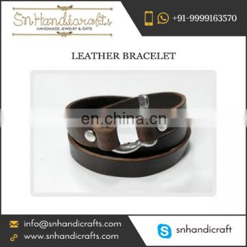 Dapper Leather Bracelet Broad Size for Men and Women at Amazing Rate