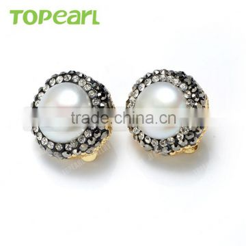 Topearl Earring Jewelry White Freshwater Pearl Clip Earrings Rhinestones Studded Antique Gold Tone Jewelry AHE01