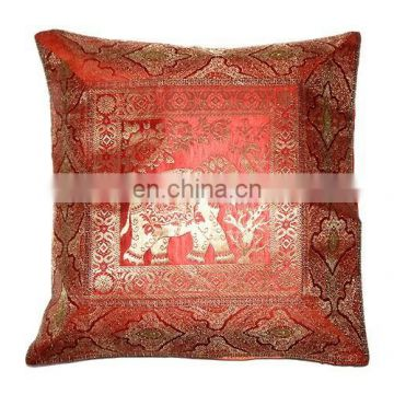 INDIAN SILK JACQUARD CUSHION COVERS MANY DESIGNS COLORS