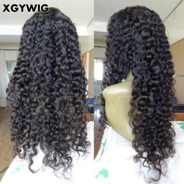 Stock 100% Virgin Unprocessed Brazilian Human Hair Natural Color Glueless pre-plucked 13x4 Deep Wave Lace Front Wigs