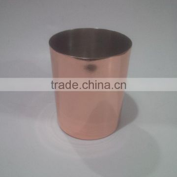 Steel votive in copper finish and steel colour inside