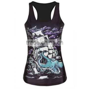 OEKOTEX-CERTIFICATE Factory Custom 100% polyester all over sublimation printing sleeveless shirt