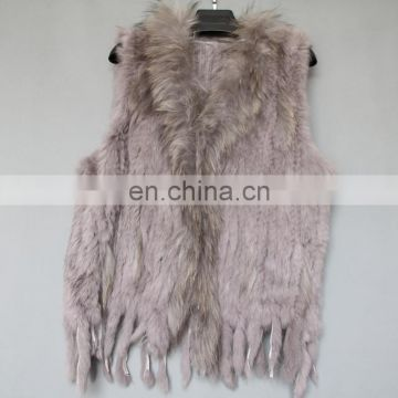 Classic style weaven rabbit fur gilet knitting real fur gilet