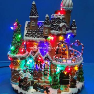 "Polyresin Christmas Decoration 13"" Led gingerbread house with rotating figurines"