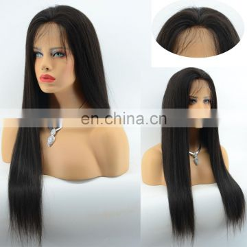 Natural Color Silky Straight Full Lace Human Hair Wigs Virgin Malaysian Hair Middle Parting Silicone Base Wig