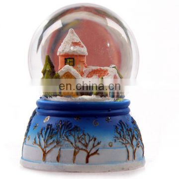 Customized resin 3D house glass snow globe for promotion