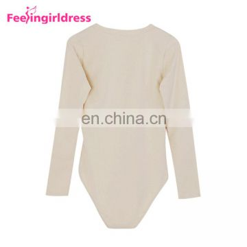 Apricot Color Bandage V Neck Winter Womens Bodysuit Long Sleeve Rompers Jumpsuits
