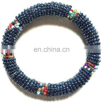 Bead Bracelet - Handmade African Kenyan Bangle Jewelry - Silver Blue Color
