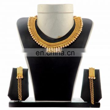 Designer Gold Pearl jewellery set - Bollywood Indian Gold Jewelry Set - gold plated necklace set