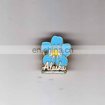 Promotional Hot Selling Souvenir Blue Flower Alaska Painting Custom Pin Badge