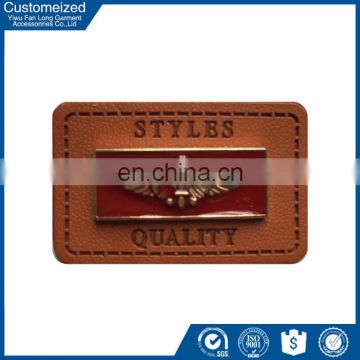 Custom Jeans PU Leather Label With Metal For Clothing