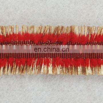 Fashion cotton red fringe tassel with gold lurex trimming for dresses