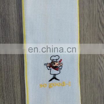 100% cotton embroidered waffle tea towel