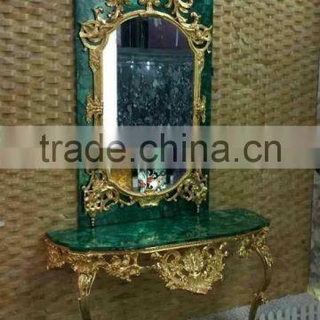 Antique European Wall Mounted Gilt Bronze Malachite Console Table And Mirror Set