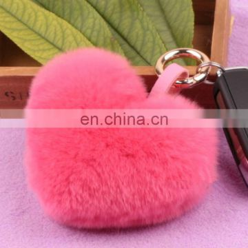 New fashion rabbit fur pendant real rex rabbit fur pompon keychain factory price wholesale