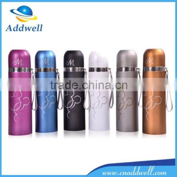 Portable cartoon frosted sport travel stainless steel vacuum cup