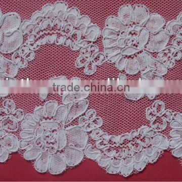 Scalloped Edge French Lace With Cord White