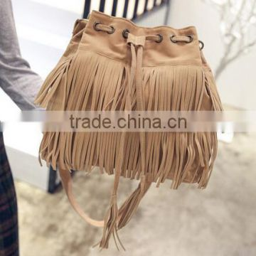 Small bucket women tote bag 2016 high quality tassels genuine leather bag women messenger bags famous