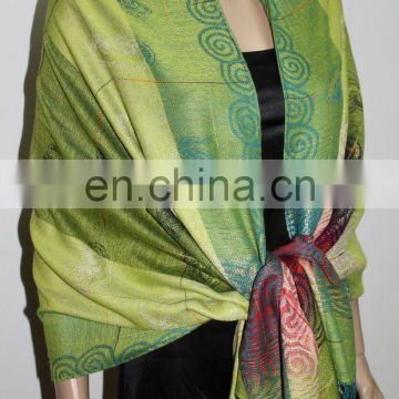 JDP-023_17# Silk shawl lucky cloud with golden thread pattern