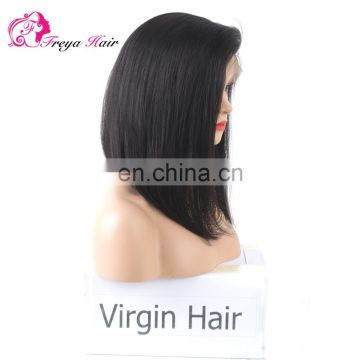 Hot Selling Good Feedback lace front wig Straight asymmetrical bob Wig 100% Human Hair Virgin Brazilian Lace front Wig