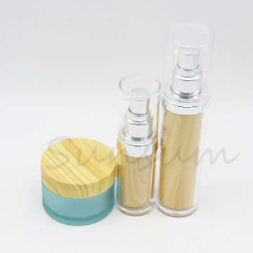 Frosted Cosmetic Jar Double Wall Wooden Lotion Silver Pump Spray Bottle