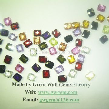 10x12mm CZ rectangle (faceted cut), with two holes (side to side)