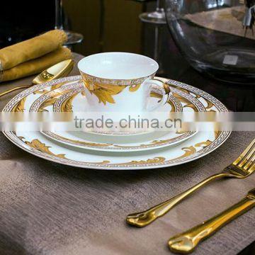 Luxury Royal Dinner Plates Bone China Round Dinner Plates Ceramic