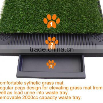 (1002) indoors 2-piece pet relief system non-toxic material sythetic grass pet toilet