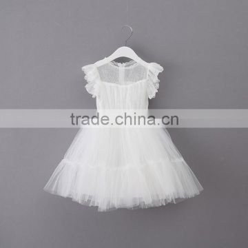 wholesale white puff weeding dress child,pure color kids prom gown long skirt, layers baby girl ruflle frock