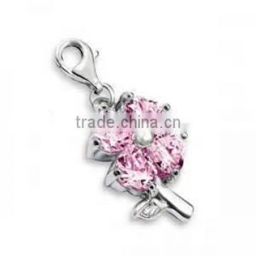 Vnistar wholesale high quality 3D pink cryatal charm flower shape pendant charm DIY fashion jewelry,TC-031