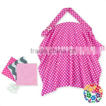 Hot Pink White Dots with bags Baby Mum Breastfeeding Nursing Poncho Cover Up Udder Covers Cotton Blanket Shawl
