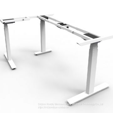 Height adjustment sit to stand corner height adjustable desk